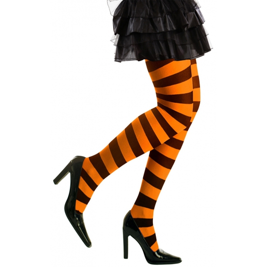 Feest/party gestreepte heksen panty maillot zwart/oranje voor dames M/L M Oranje
