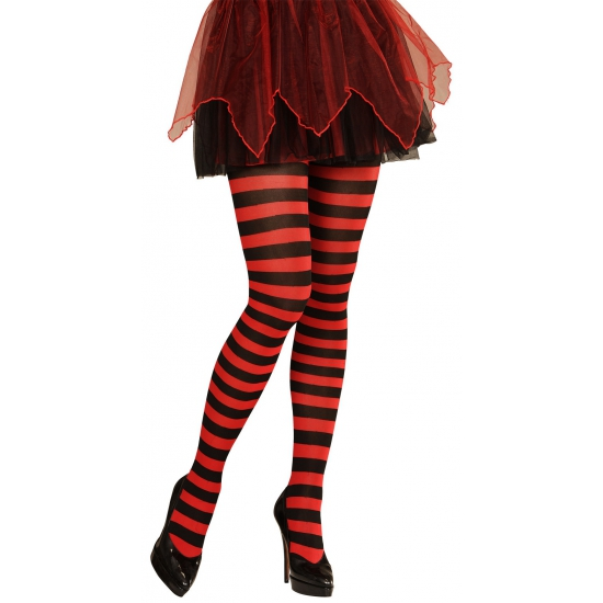Feest/party gestreepte heksen panty maillot zwart/rood voor dames M/L M Rood