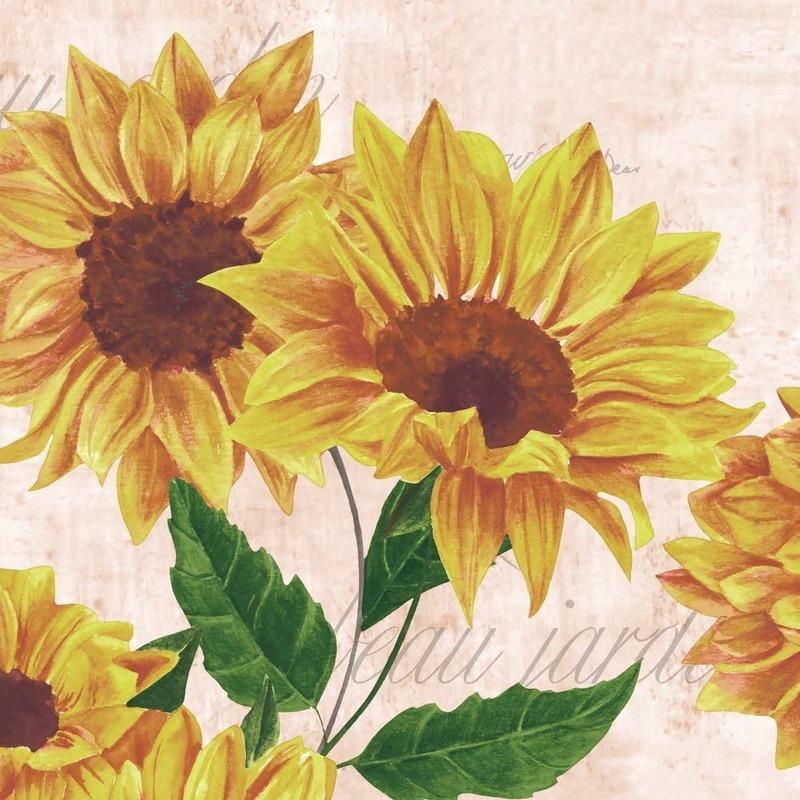Feest servetten zonnebloem bloemenprint 20 stuks Multi