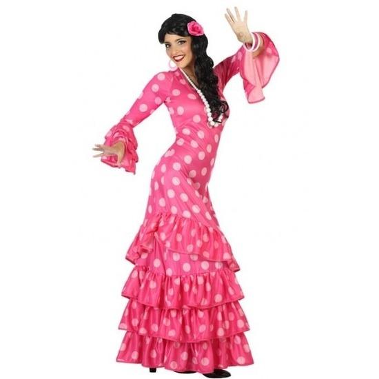 Flamenco danseres jurk roze met lange mouwen voor dames XL (42-44) Roze