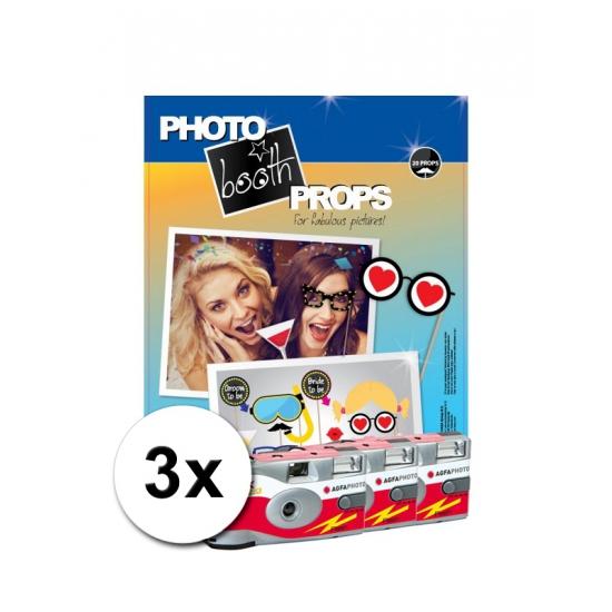 Foto booth props voor vrijgezellenfeest incl 3x wegwerp camera Multi