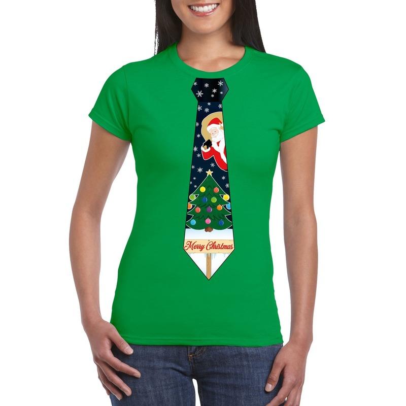 Fout Kerst shirt groen kerstboom stropdas voor dames XL Groen