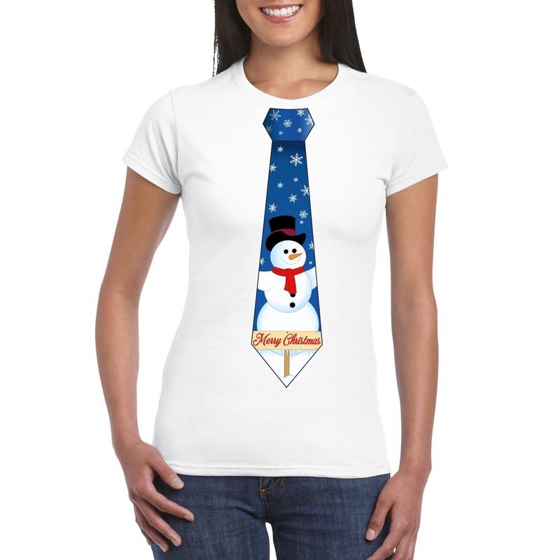 Fout Kerst shirt wit sneeuwman stropdas voor dames S Wit
