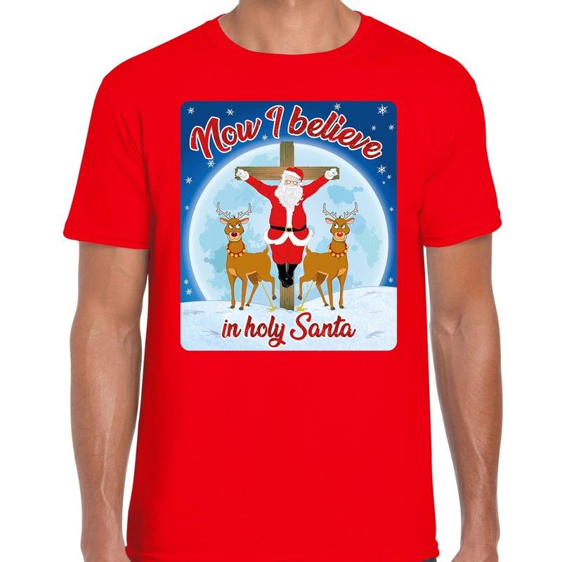 Fout kerstborrel shirt / kerstshirt now i believe rood voor heren XL Rood
