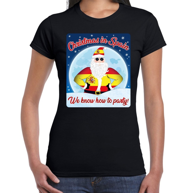 Fout kerstborrel Spanje t-shirt christmas in Spain zwart voor dames 2XL Zwart