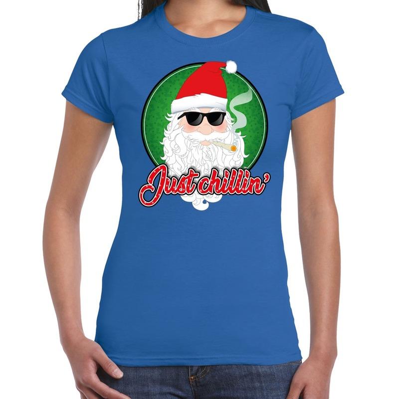 Fout kerstborrel t-shirt / kerstshirt just chillin stoere kerstman blauw voor dames XL Blauw