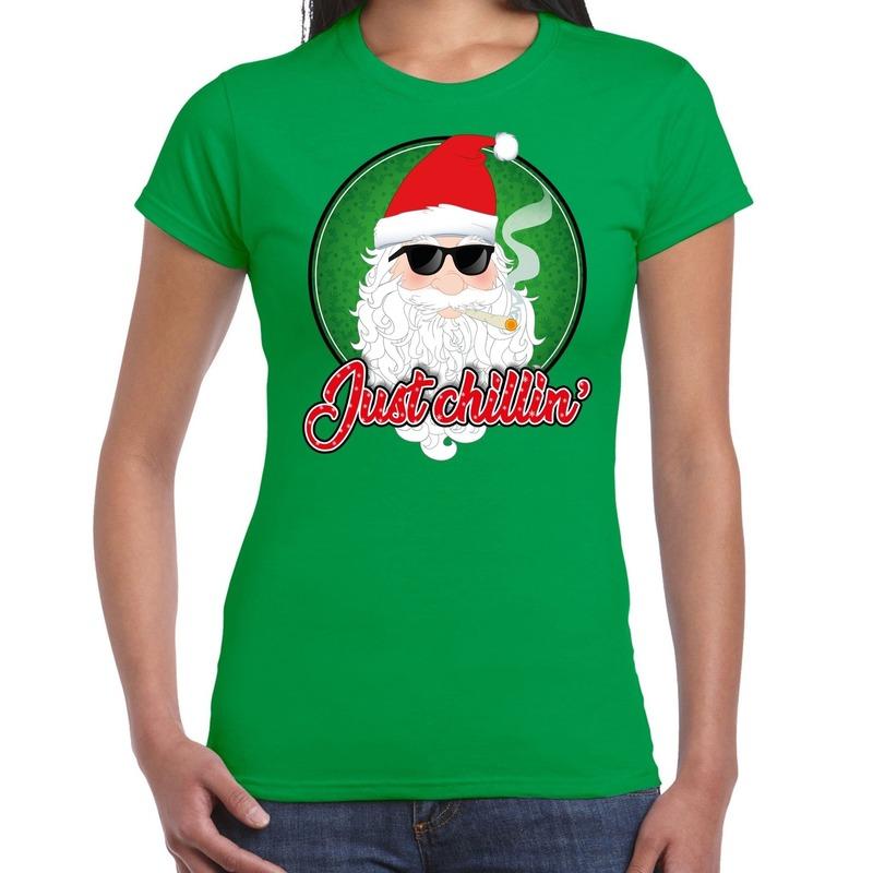 Fout kerstborrel t-shirt / kerstshirt just chillin stoere kerstman groen voor dames XL Groen