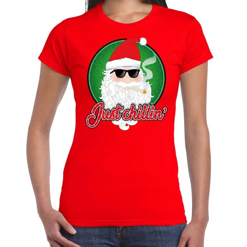 Fout kerstborrel t-shirt / kerstshirt just chillin stoere kerstman rood voor dames S Rood