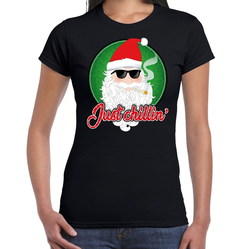 Fout kerstborrel t-shirt / kerstshirt just chillin stoere kerstman zwart voor dames S Zwart