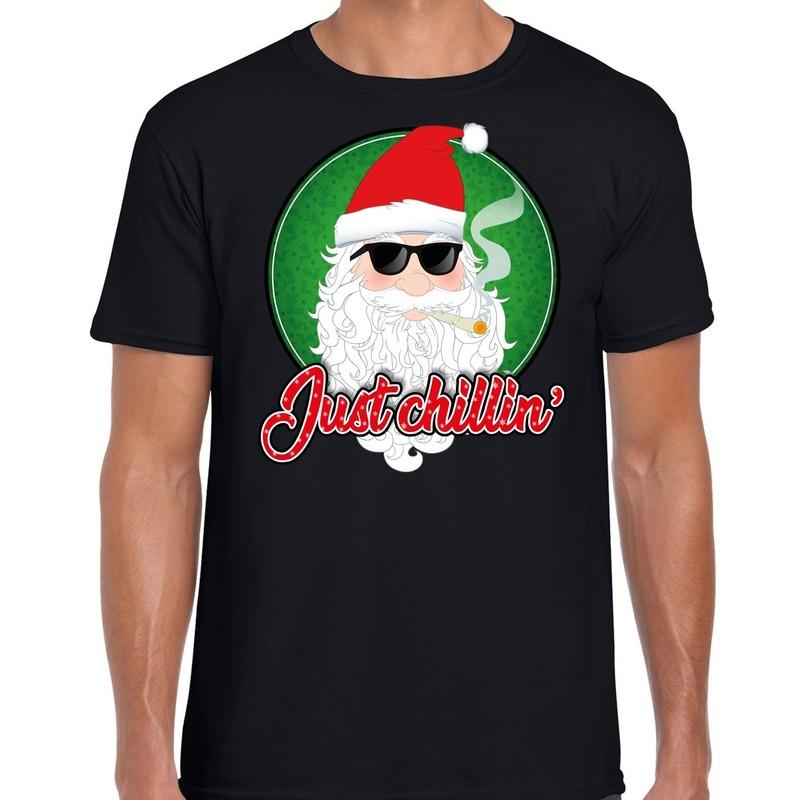 Fout kerstborrel t-shirt / kerstshirt just chillin zwart voor heren M (50) Zwart