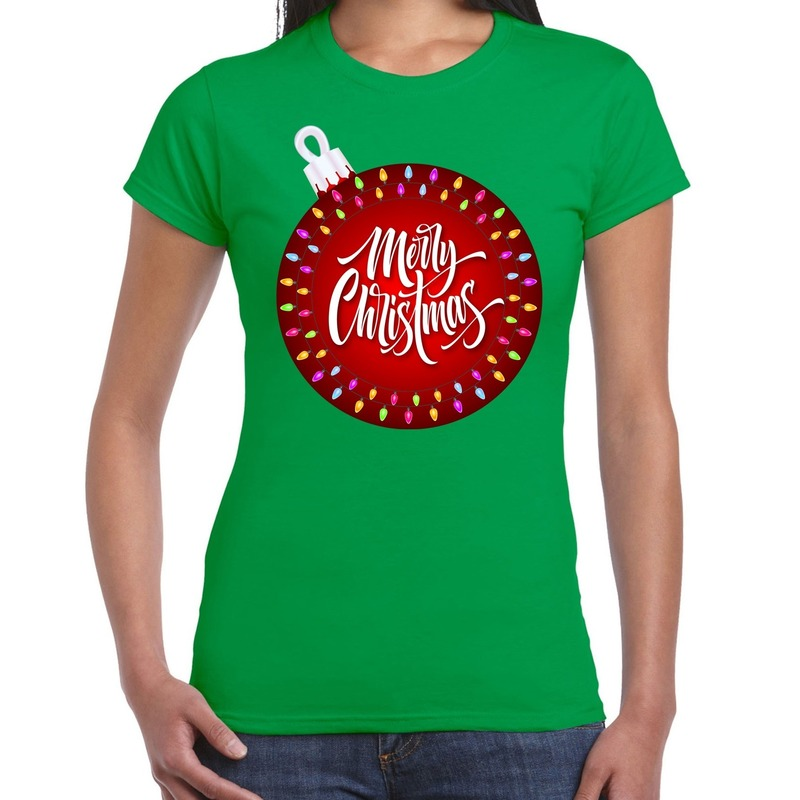 Fout kerstborrel t-shirt / kerstshirt kerstbal merry christmas groen voor dames L Groen