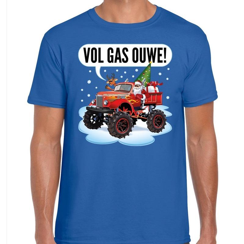 Fout kerstborrel t-shirt / kerstshirt Monstertruck Santa blauw voor heren XL (54) Blauw