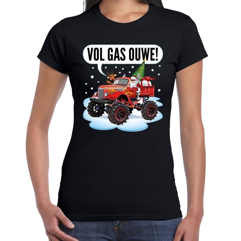 Fout kerstborrel t-shirt / kerstshirt monstertruck santa zwart voor dames M Zwart