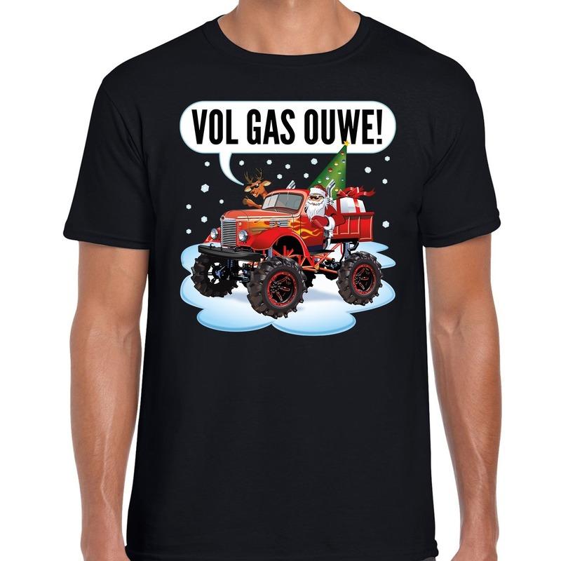 Fout kerstborrel t-shirt / kerstshirt Monstertruck Santa zwart voor heren S (48) Zwart