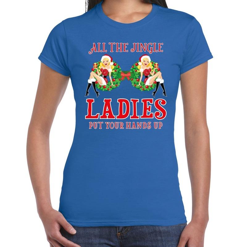 Fout kerstborrel t-shirt / kerstshirt single / jingle ladies blauw voor dames S Blauw
