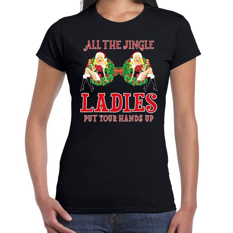 Fout kerstborrel t-shirt / kerstshirt single / jingle ladies zwart voor dames 2XL Zwart