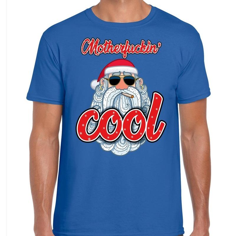 Fout kerstborrel t-shirt / kerstshirt Stoere santa motherfucking cool blauw voor heren S (48) Blauw