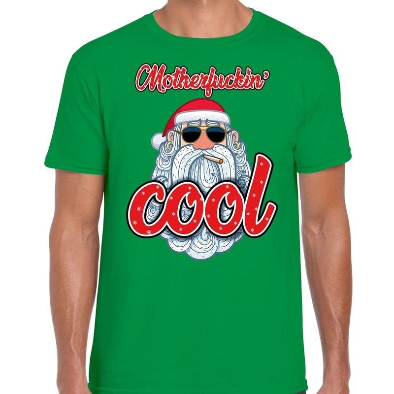 Fout kerstborrel t-shirt / kerstshirt Stoere santa motherfucking cool groen voor heren L (52) Groen