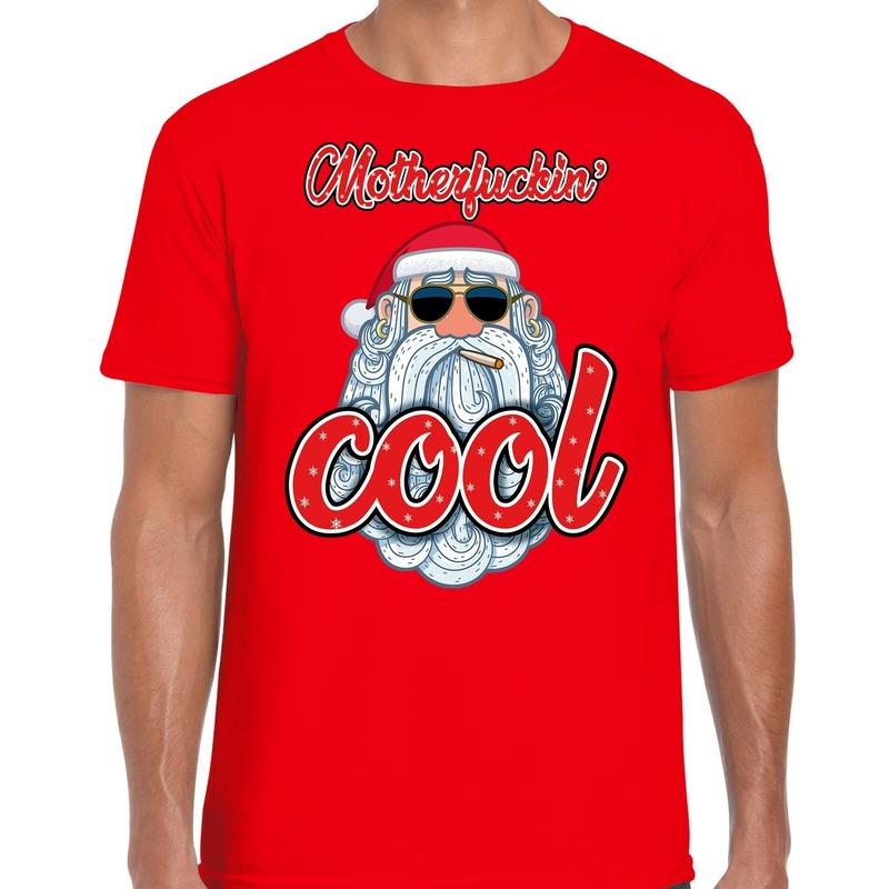 Fout kerstborrel t-shirt / kerstshirt Stoere santa motherfucking cool rood voor heren S (48) Rood