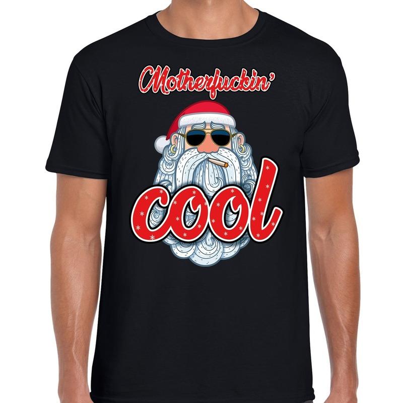 Fout kerstborrel t-shirt / kerstshirt Stoere santa motherfucking cool zwart voor heren L (52) Zwart