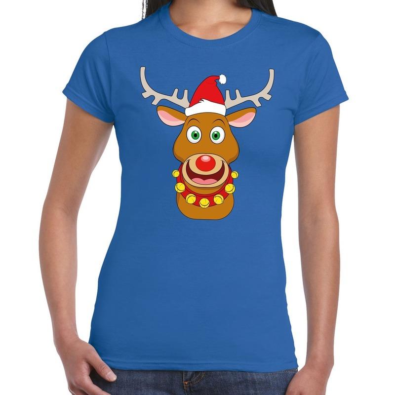 Fout Kerstmis shirt blauw met de kerstman en Rudolf voor dames L Blauw