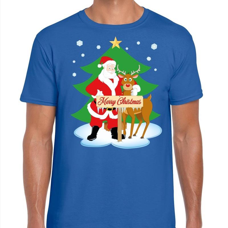 Fout Kerstmis shirt blauw met de kerstman en Rudolf voor heren S Blauw
