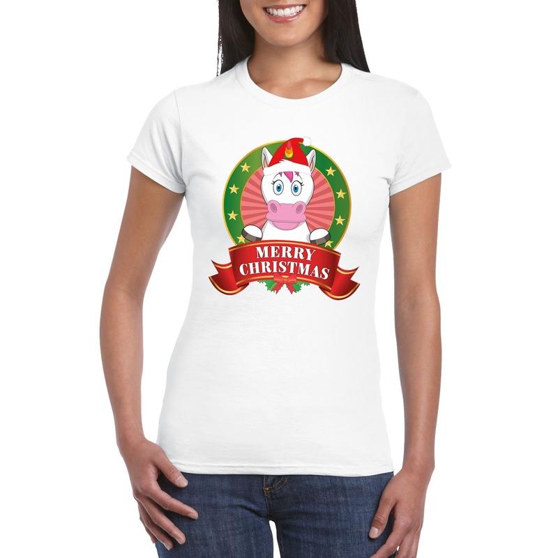 Fout Kerstmis shirt met eenhoorn voor dames M Multi