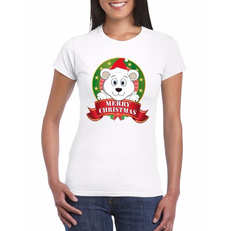 Fout Kerstmis shirt met ijsbeer voor dames L Multi
