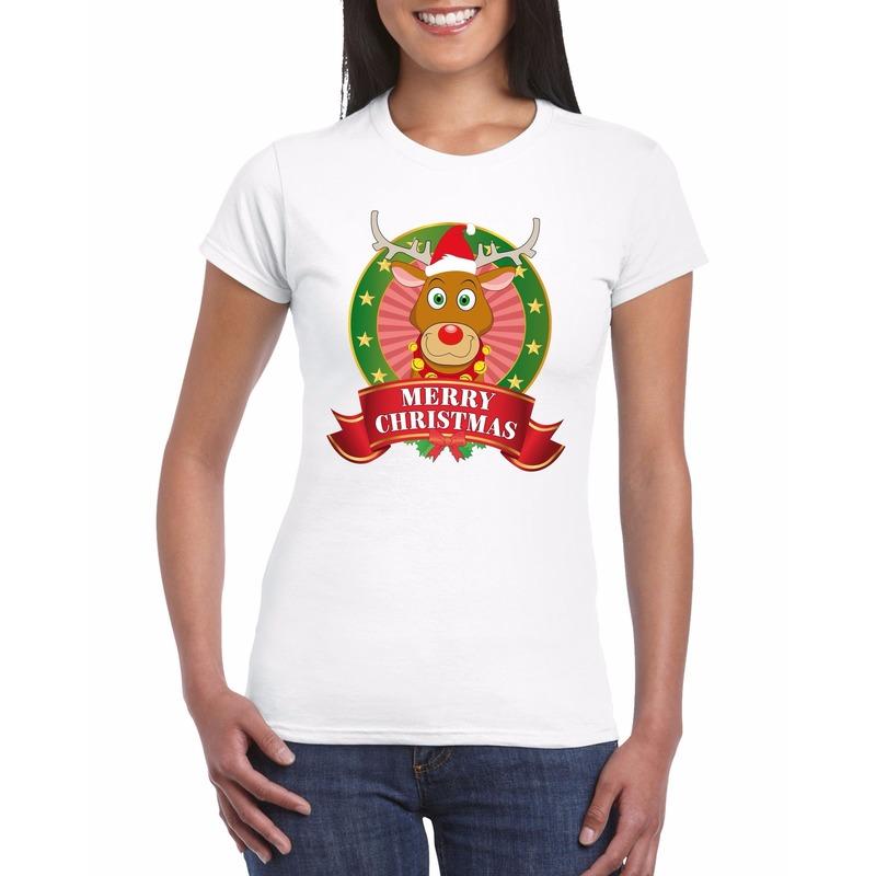 Fout Kerstmis shirt met Rendier Rudolf voor dames XL Wit