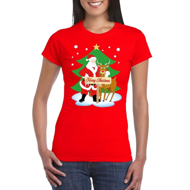 Fout Kerstmis shirt rood met de kerstman en Rudolf voor dames M Rood