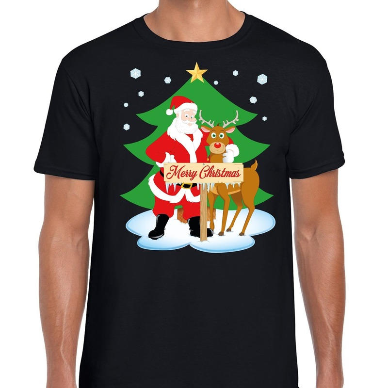 Fout Kerstmis shirt zwart met de kerstman en Rudolf voor heren S Zwart