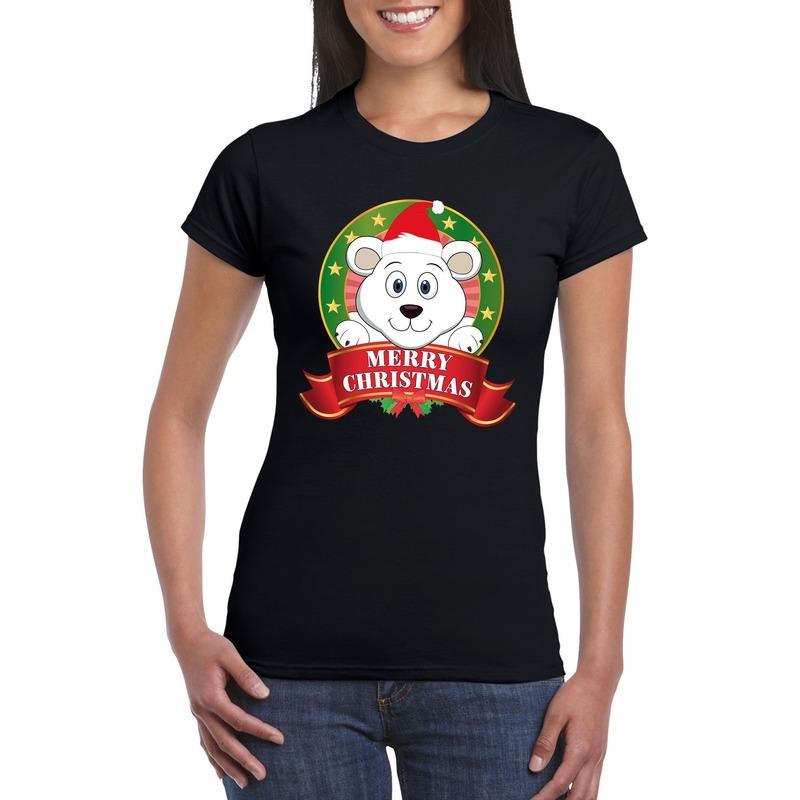 Fout Kerstmis shirt zwart met ijsbeer voor dames 2XL Zwart