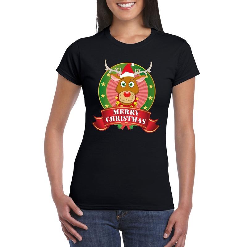 Fout Kerstmis shirt zwart met Rendier Rudolf voor dames L Zwart