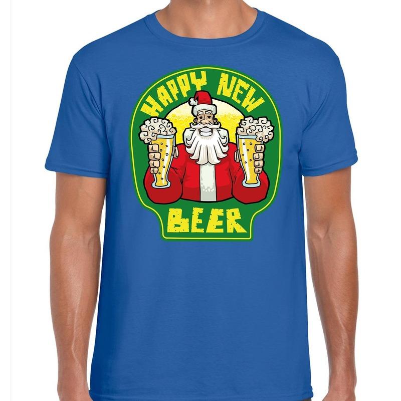 Fout oud en nieuw / kerst shirt happy new beer blauw voor heren S (48) Blauw