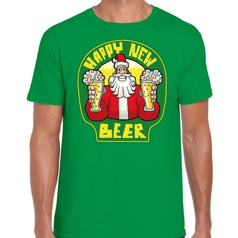 Fout oud en nieuw / kerst shirt happy new beer groen voor heren XL (54) Groen