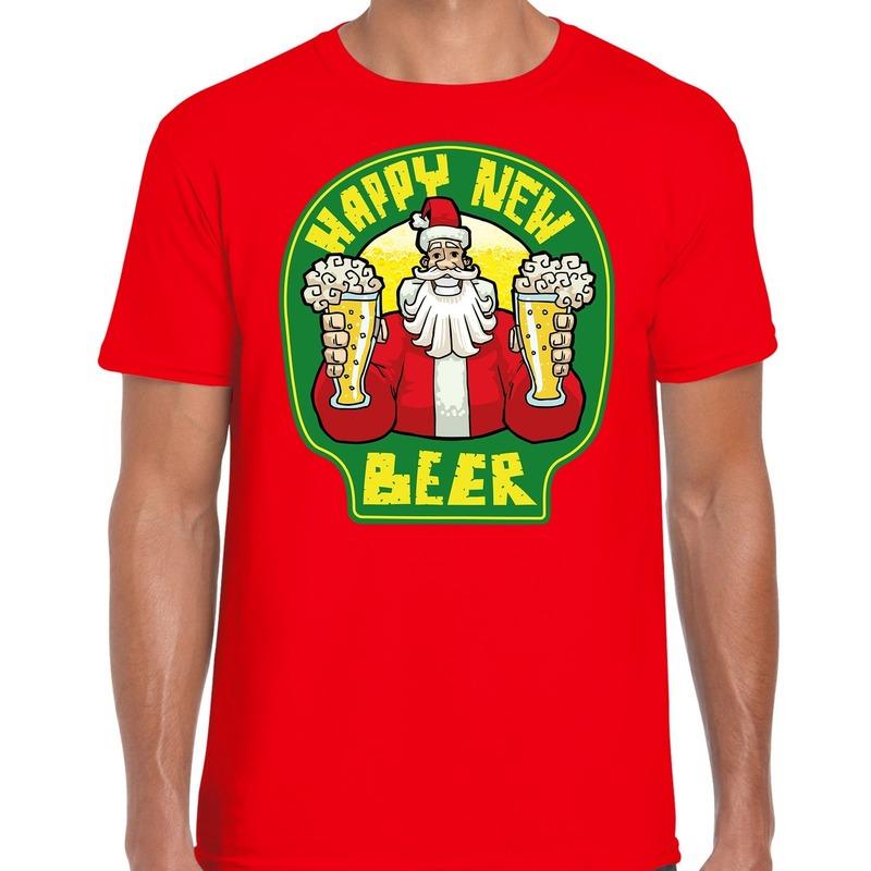Fout oud en nieuw / kerst shirt happy new beer rood voor heren S (48) Rood