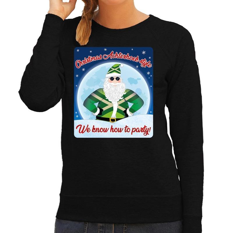 Foute Achterhoek kerstborrel trui / kersttrui christmas Achterhoek style zwart voor dames L (40) Zwart