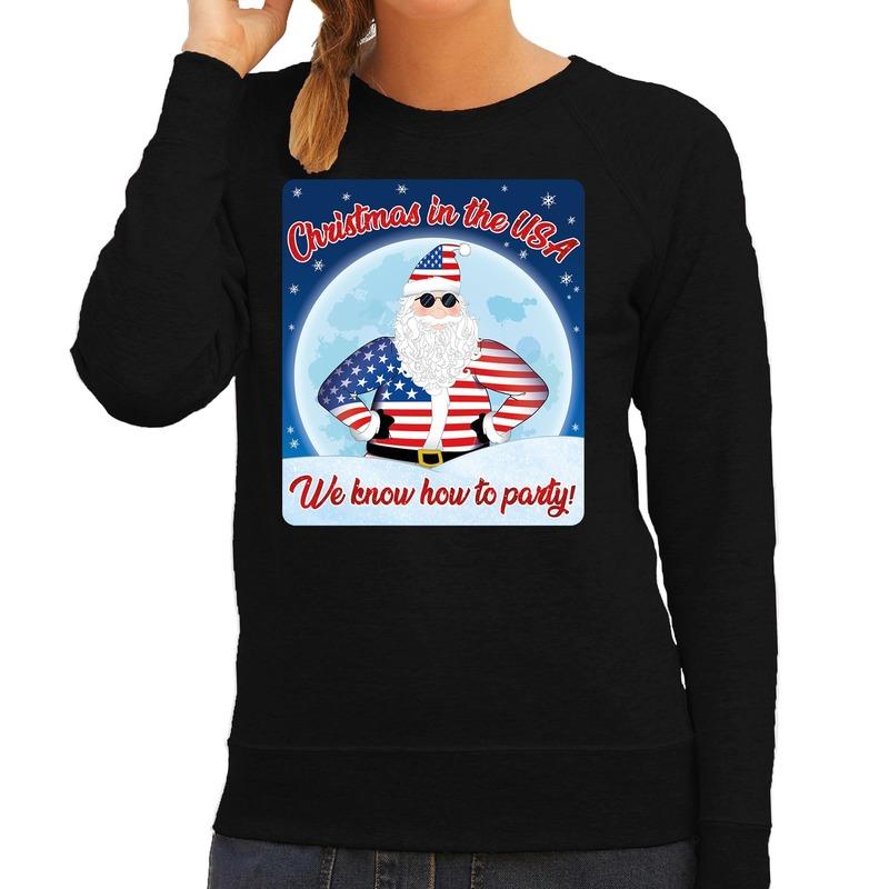 Foute Amerika kerstborrel trui / kersttrui christmas in USA zwart voor dames M (38) Zwart