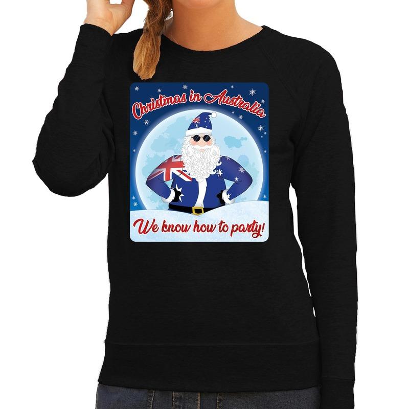 Foute Australie kerstborrel trui / kersttrui christmas in Australia zwart voor dames XL (42) Zwart