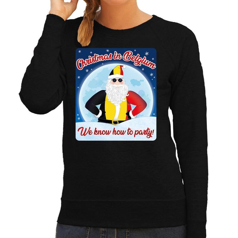 Foute Belgie kerstborrel trui / kersttrui christmas in Belgium zwart voor dames XS (34) Zwart