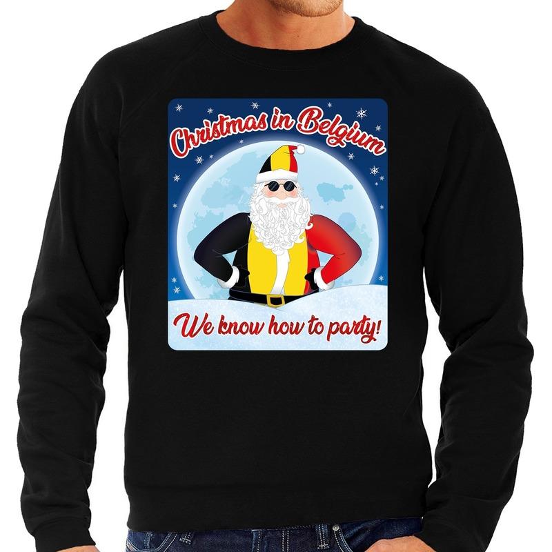 Foute Belgie kerstborrel trui / kersttrui christmas in Belgium zwart voor heren S (48) Zwart