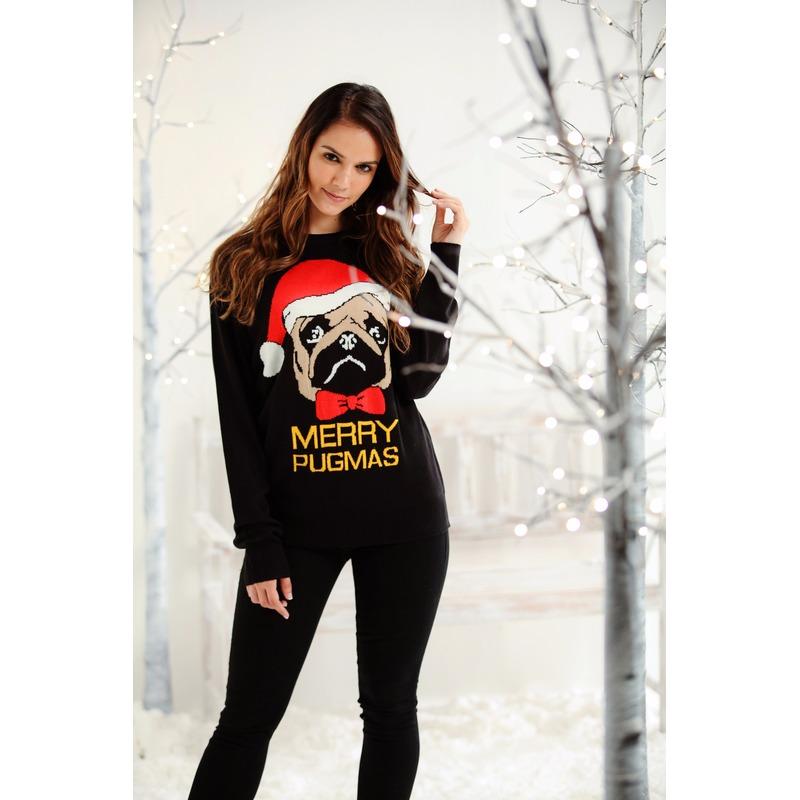 Foute dames/heren kersttrui Merry Pugmas XL (42) Multi
