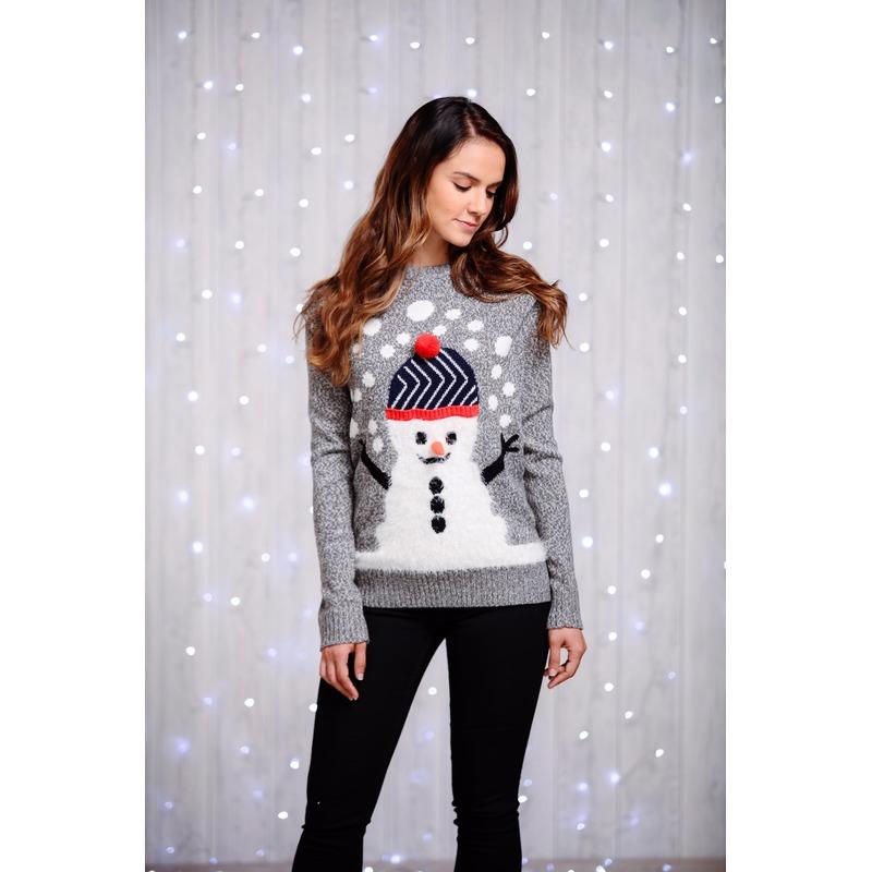 Foute dames kersttrui met sneeuwman M (38) Grijs