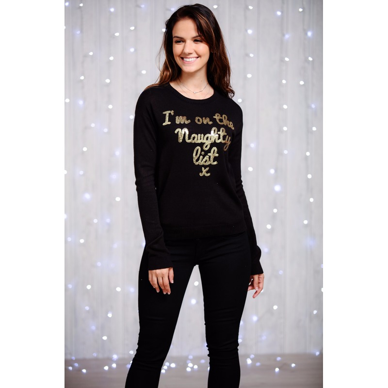 Foute dames kersttrui zwart met gouden pailletten M (38) Zwart
