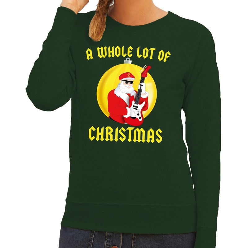Foute feest kerst sweater groen A Whole Lot of Christmas voor dames L (40) Groen