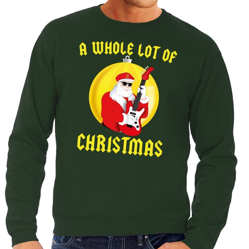 Foute feest kerst sweater groen A Whole Lot of Christmas voor heren S (48) Groen