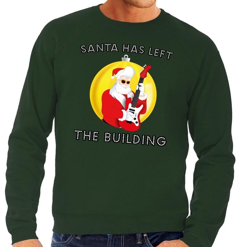 Foute feest kerst sweater groen Santa Elvis has Left the Building voor heren XL (54) Groen