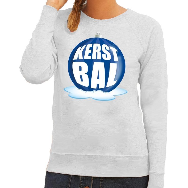 Foute feest kerst sweater met blauwe kerstbal op grijze sweater voor dames L (40) Grijs