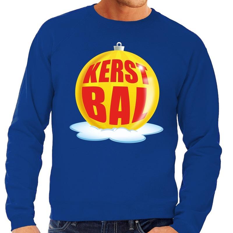 Foute feest kerst sweater met gele kerstbal op blauwe sweater voor heren 2XL (56) Blauw