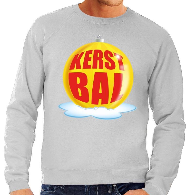 Foute feest kerst sweater met gele kerstbal op grijze sweater voor heren XL (54) Grijs